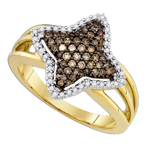 10k Yellow Gold Cognac-brown Colored Diamond Womens Star-shape Fancy Cluster Fine Ring 3/8 Cttw