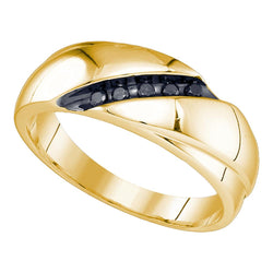 10kt Yellow Gold Mens Round Black Colored Diamond Band Ring 1/10 Cttw