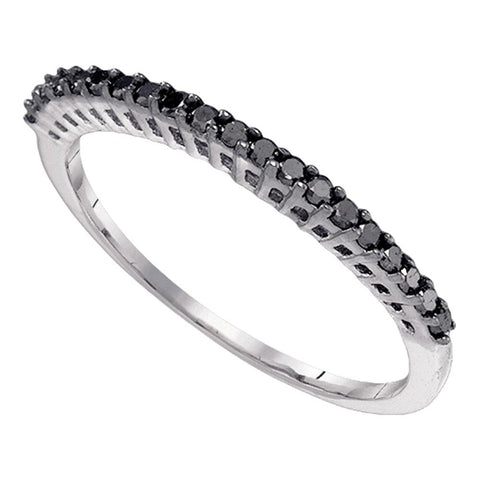 10k White Gold Black Colored Diamond Slender Slim Thin Womens Anniversary Wedding Band 1/4 Cttw