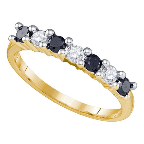 10k Yellow Gold Womens Black Colored Round Diamond Wedding Anniversary Band 1/2 Cttw