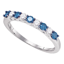 10kt White Gold Womens Round Blue Colored Diamond Band Wedding Anniversary Ring 1/2 Cttw