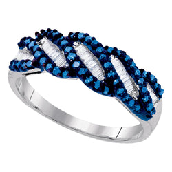 Sterling Silver Womens Round Blue Colored Diamond Crossover Band Ring 1/2 Cttw