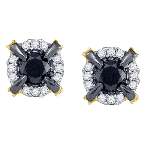 10k Yellow Gold Black Colored Diamond Cluster Claw Stud Fashion Earrings 1 CT