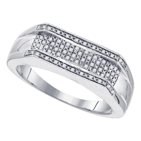 Sterling Silver Mens Round Diamond Flat Band Ring 1/6 Cttw