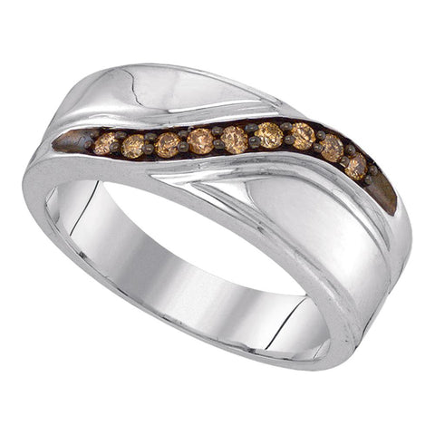 Sterling Silver Mens Round Cognac-brown Colored Diamond Band Wedding Anniversary Ring 1/4 Cttw