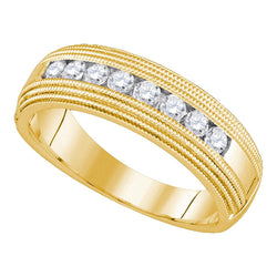 14kt Yellow Gold Mens Round Diamond Milgrain Wedding Anniversary Band Ring 1/2 Cttw