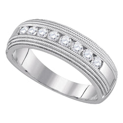 10kt White Gold Mens Round Diamond Milgrain Wedding Anniversary Band Ring 1/2 Cttw
