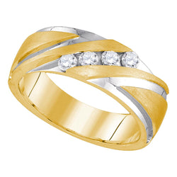 10kt Yellow Gold 2-tone Mens Round Diamond Band Wedding Anniversary Ring 1/3 Cttw