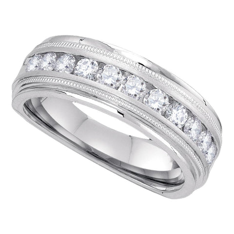 10kt White Gold Mens Round Diamond Band Wedding Anniversary Ring 1.00 Cttw