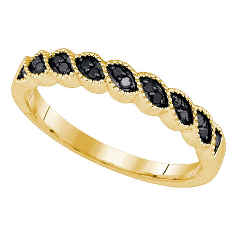 10k Yellow Gold Black Colored Round Diamond Womens Wedding Anniversary Band 1/5 Cttw