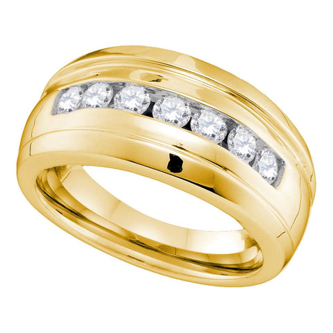 10kt Yellow Gold Mens Round Channel-set Diamond Ridged Wedding Band Ring 3/4 Cttw