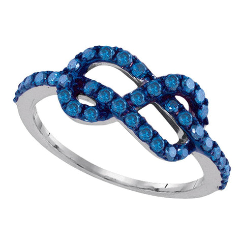 10k White Gold Blue Colored Round Diamond Infinity Woven Love Anniversary Ring 3/4 Cttw