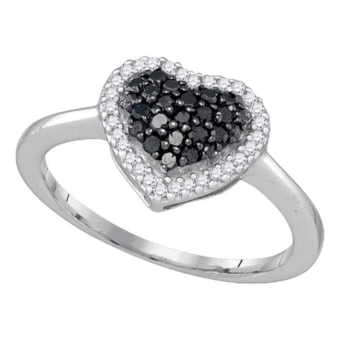 10k White Gold Black Colored Round Diamond Cluster Womens Love Heart Ring 1/3 Cttw