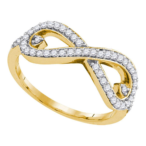 10k Yellow Gold Womens Round Diamond Infinity Love Woven Ring 1/3 Cttw