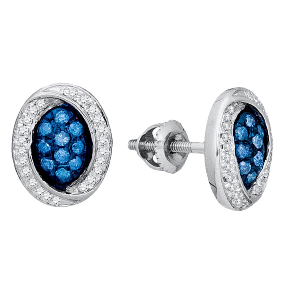 Ladies 10K White Gold Enhanced Blue Colored Diamond Oval Stud Earrings 1/3 CT