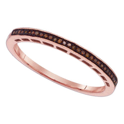 10k Pink Rose Gold Red Colored Round Diamond Womens Slender Wedding Anniversary Band 1/12 Cttw