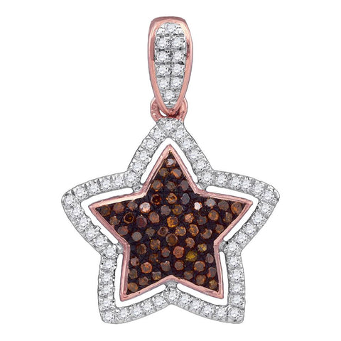 10kt Rose Gold Womens Round Red Colored Diamond Star Pendant 1/4 Cttw