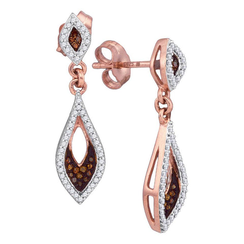 10kt Rose Gold Womens Round Red Colored Diamond Dangle Earrings 1/3 Cttw