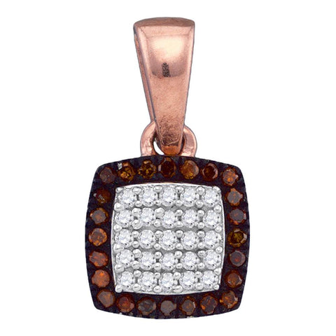 10kt Rose Gold Womens Round Red Colored Diamond Square Cluster Pendant 1/8 Cttw