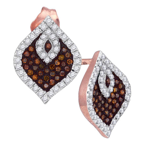 10kt Rose Gold Womens Round Red Colored Diamond Stud Cluster Spade Earrings 3/8 Cttw