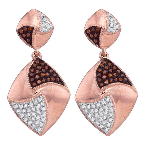 10kt Rose Gold Womens Round Red Colored Diamond Square Dangle Earrings 1/3 Cttw
