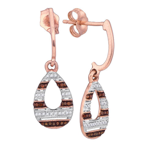 10kt Rose Gold Womens Round Red Colored Diamond Teardrop Dangle Earrings 1/5 Cttw