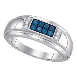 10kt White Gold Mens Round Blue Colored Diamond Band Ring 1/3 Cttw