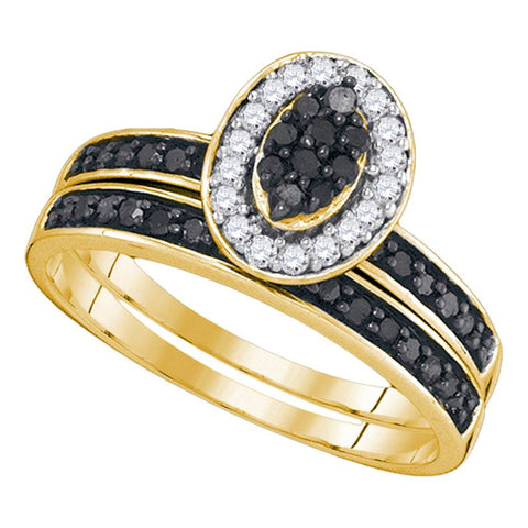 10k Yellow Gold Black Colored Diamond Womens Cluster Wedding Bridal Engagement Ring Band Set 1/2 Cttw