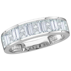 14kt White Gold Womens Baguette & Princess Diamond Wedding Anniversary Band 1.00 Cttw