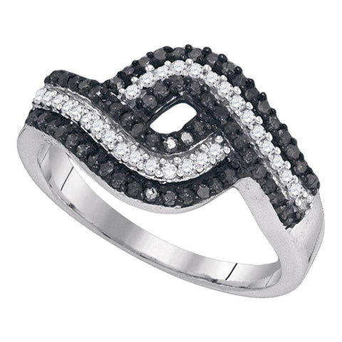 10k White Gold Black Colored Round Diamond Womens Woven Striped Fine Cocktail Band 1/2 Cttw