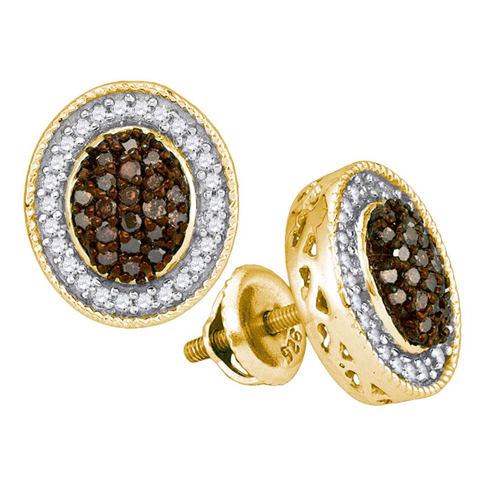 10kt Yellow Gold Womens Round Cognac-brown Colored Diamond Oval Frame Cluster Earrings 1/2 Cttw
