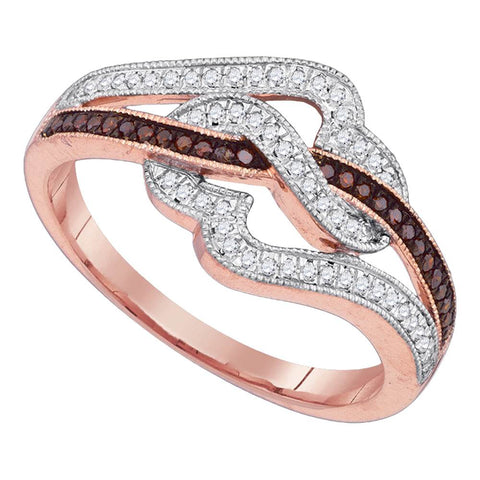 10k Pink Rose Gold Red Colored Diamond Womens Unique Cocktail Heart Band Ring 1/4 Cttw