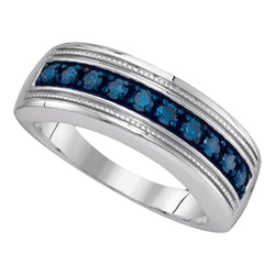 Sterling Silver Mens Round Blue Colored Diamond Wedding Anniversary Band 1/2 Cttw