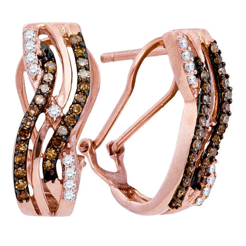 10kt Rose Gold Womens Round Cognac-brown Colored Diamond Striped Hoop Earrings 1/2 Cttw