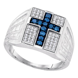 Sterling Silver Mens Round Blue Colored Diamond Cross Religious Ring 1/2 Cttw