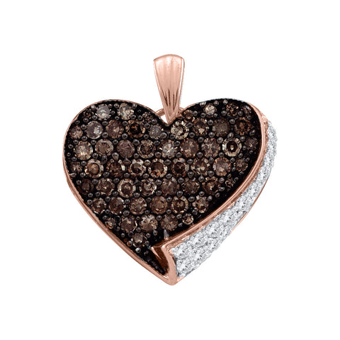 10kt Rose Gold Womens Round Cognac-brown Colored Diamond Heart Love Pendant 7/8 Cttw