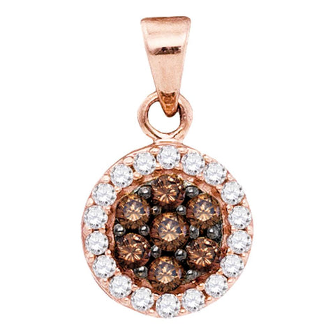 10kt Rose Gold Womens Round Cognac-brown Colored Diamond Flower Cluster Pendant 3/8 Cttw