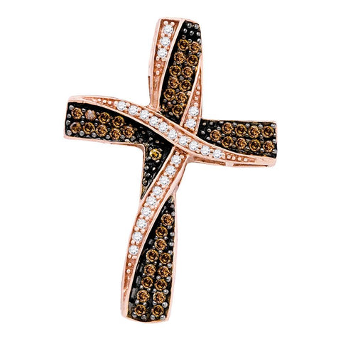 10kt Rose Gold Womens Round Cognac-brown Colored Diamond Cross Pendant 1/2 Cttw