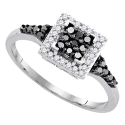 Sterling Silver Black Colored Round Diamond Womens Square Halo Cluster Fine Ring 1/3 Cttw