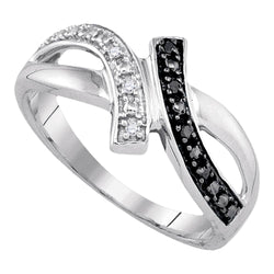 Sterling Silver Womens Round Black Colored Diamond Bypass Crossover Band Ring 1/20 Cttw