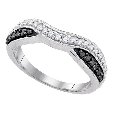 10k White Gold Black Colored Round Pave-set Diamond Womens Band Ring 1/3 Cttw
