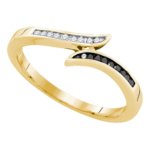 10k Yellow Gold Black Colored Diamond Womens Slender Bypass Band Ring Unique 1/10 Cttw