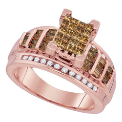 10kt Rose Gold Womens Princess Cognac-brown Colored Diamond Cluster Bridal Wedding Engagement Ring 1.00 Cttw