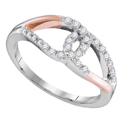10kt Two-tone White Rose Gold Womens Round Diamond Band Ring 1/4 Cttw