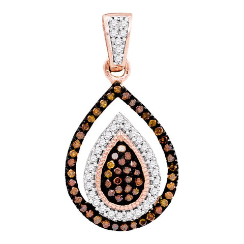 10kt Rose Gold Womens Round Red Colored Diamond Teardrop Frame Cluster Pendant 1/4 Cttw