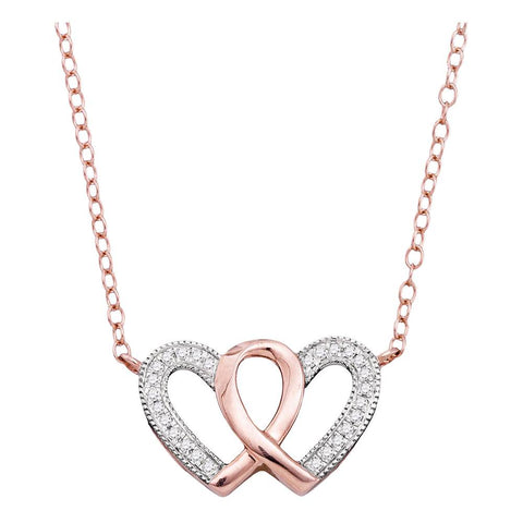10kt Rose Gold Womens Round Diamond Double Heart Awareness Ribbon Pendant Necklace 1/10 Cttw