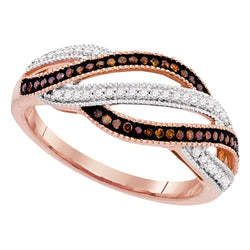 10k Rose Pink Gold Red Colored Diamond Womens Unique Cocktail Band Ring 1/4 Cttw
