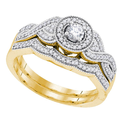 10k Yellow Gold Womens Round Diamond Halo Woven Crossover Bridal Wedding Engagement Ring Set 3/8