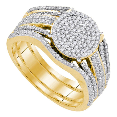 10k Yellow Gold Womens Round Diamond Cluster Bridal Wedding Engagement Ring Band Set 3/8 Cttw