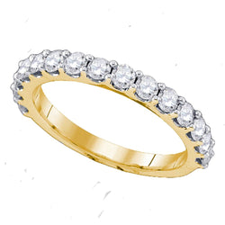 14kt Yellow Gold Womens Round Diamond Band Wedding Anniversary Ring 1/4 Cttw